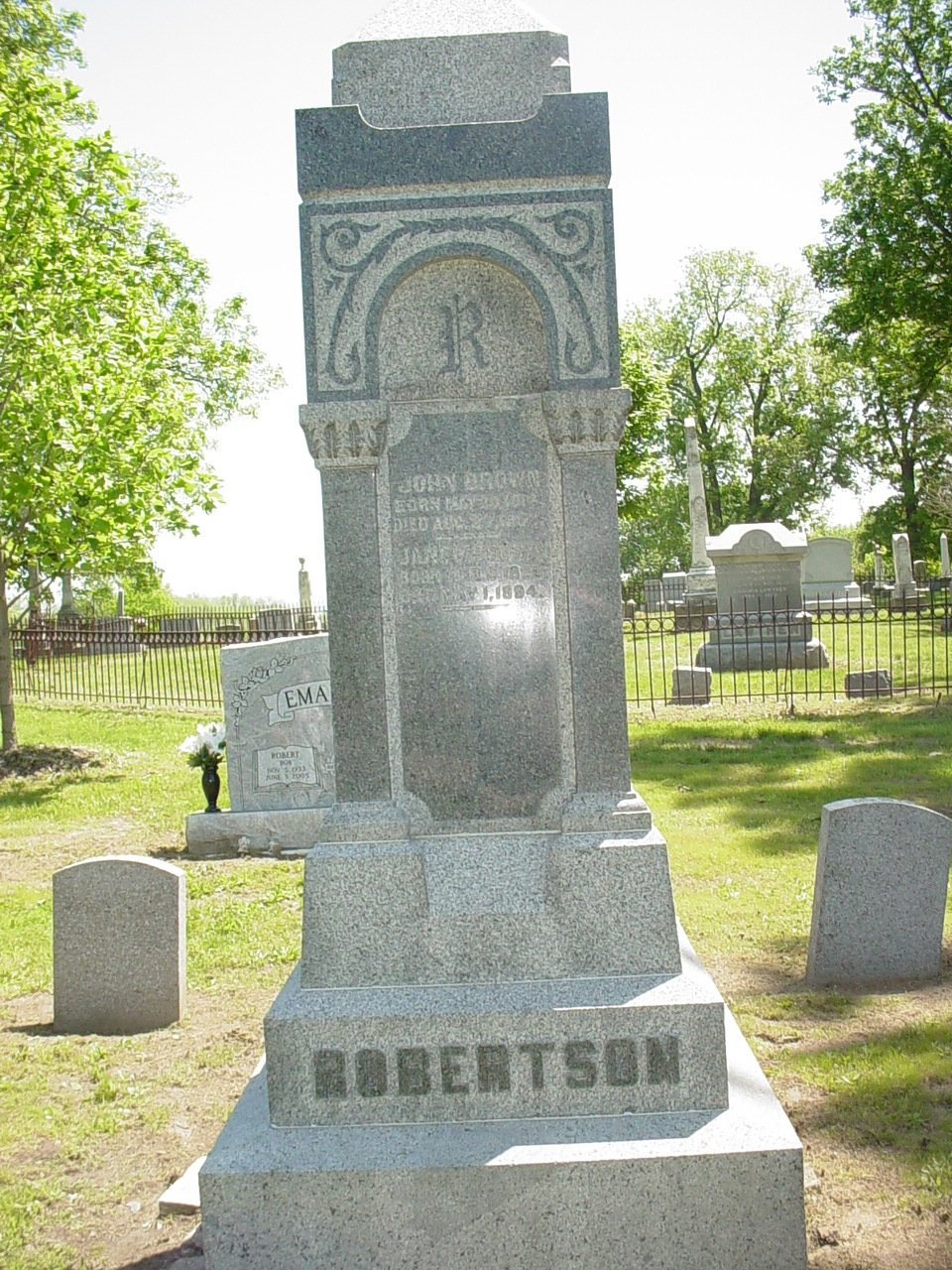 John Brown & Jane Robertson Headstone Photo, Hillcrest Cemetery, Callaway County genealogy