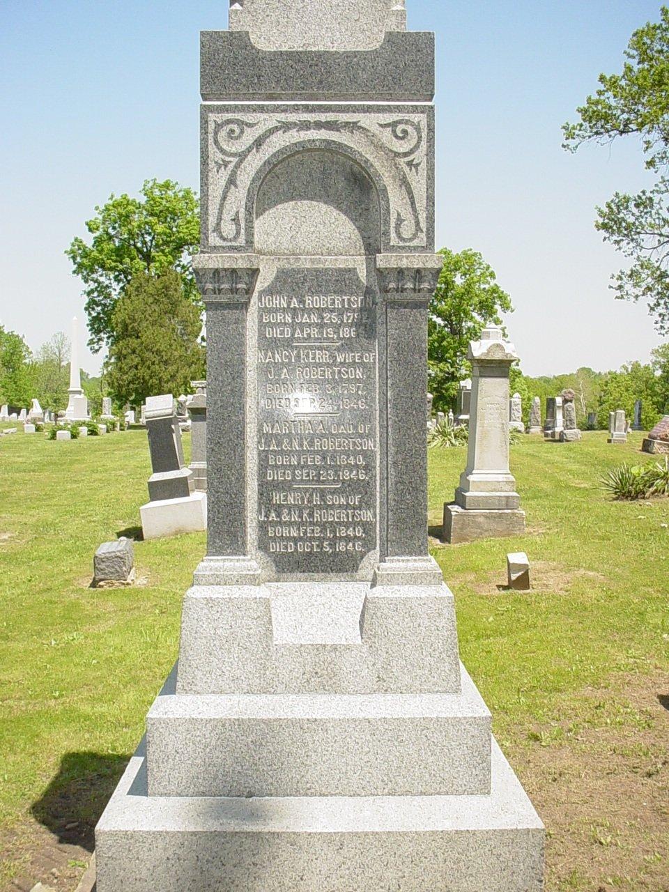John A. Robertson & Nancy Kerr & children Headstone Photo, Hillcrest Cemetery, Callaway County genealogy