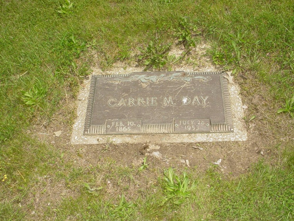 Carrie Hinman Day Headstone Photo, Hillcrest Cemetery, Callaway County genealogy