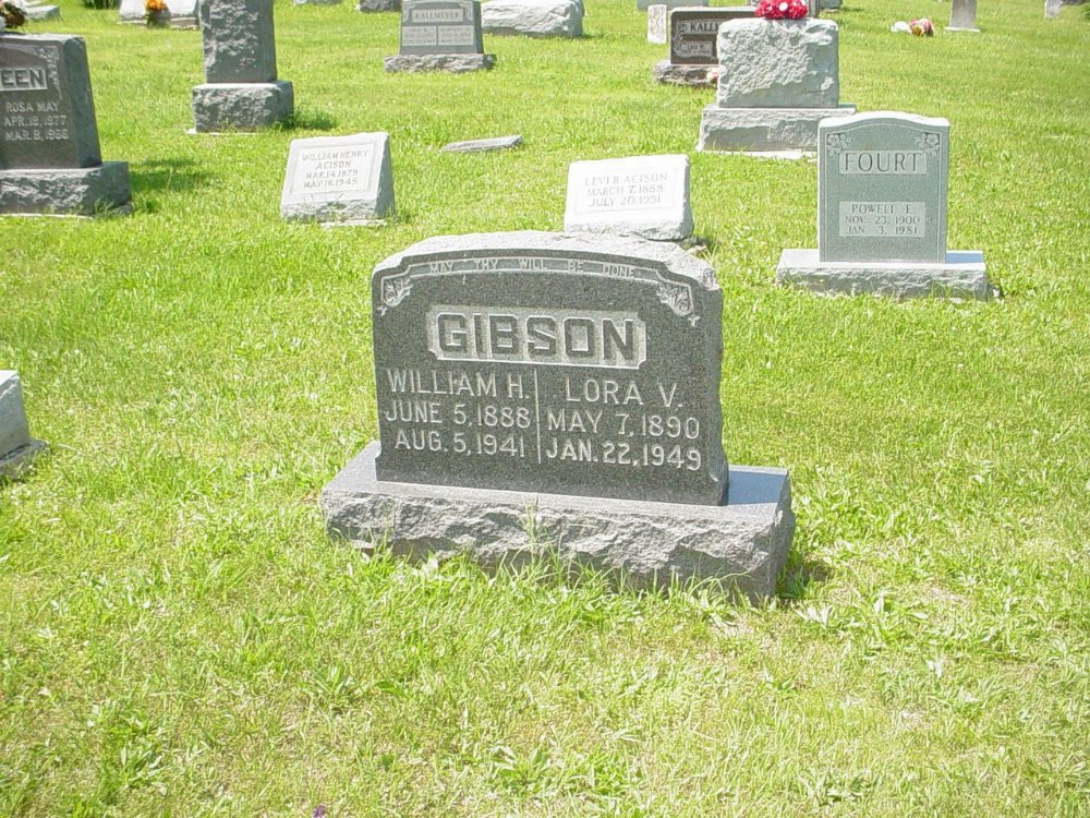 William H. Gibson & Lora V. Owen Headstone Photo, Hillcrest Cemetery, Callaway County genealogy