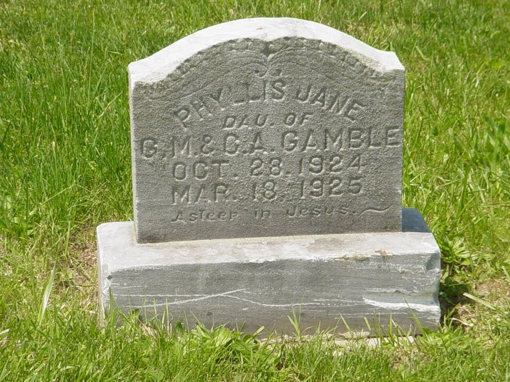 Phyllis Jane Gamble Headstone Photo, Hillcrest Cemetery, Callaway County genealogy