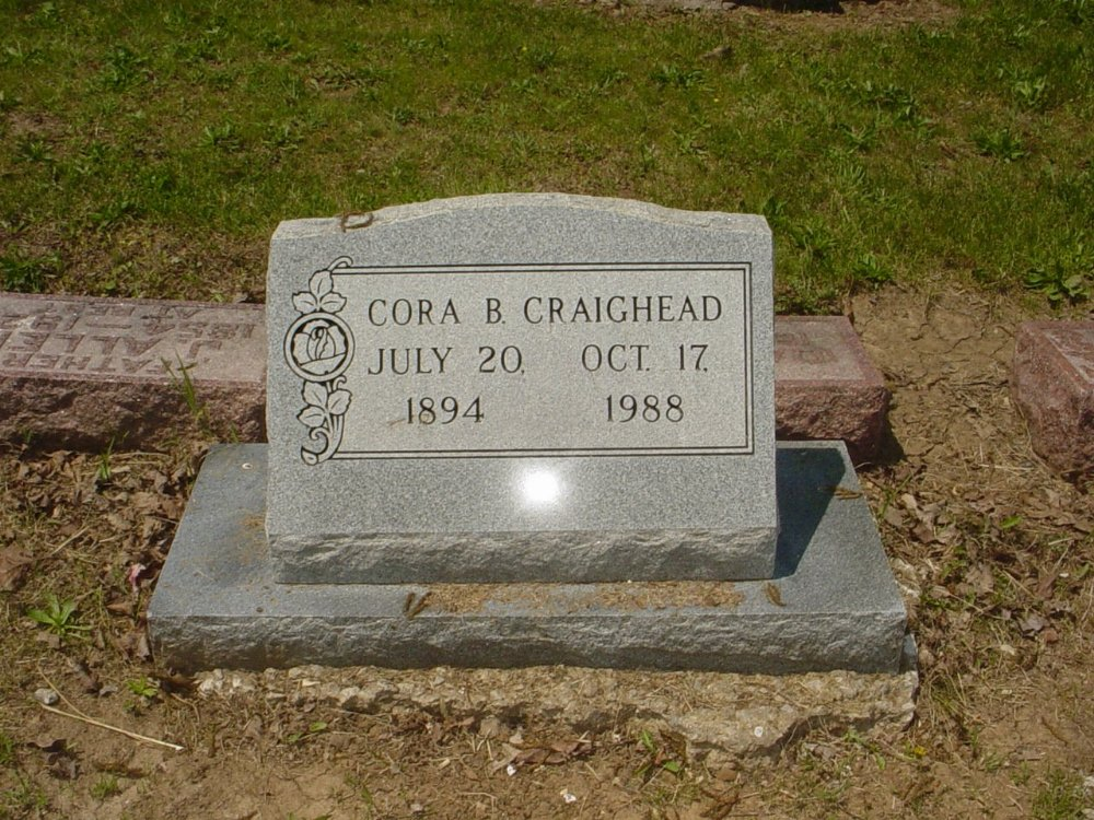 Cora B. Craighead Headstone Photo, Hillcrest Cemetery, Callaway County genealogy