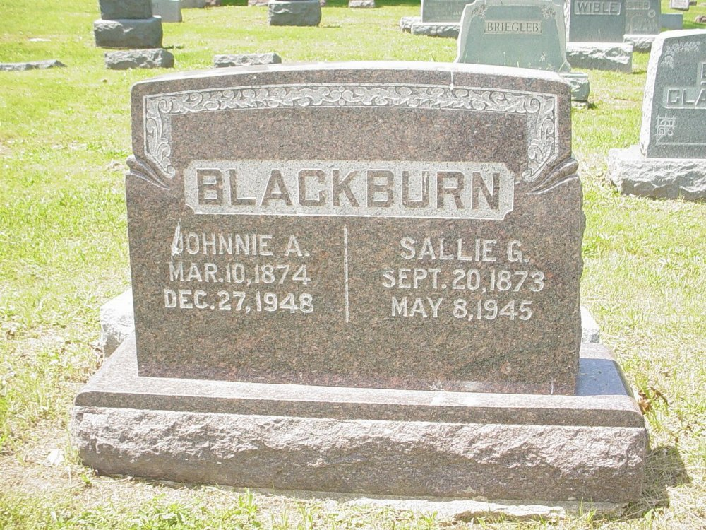 John A. Blackburn & Sallie A. Oliver Headstone Photo, Hillcrest Cemetery, Callaway County genealogy
