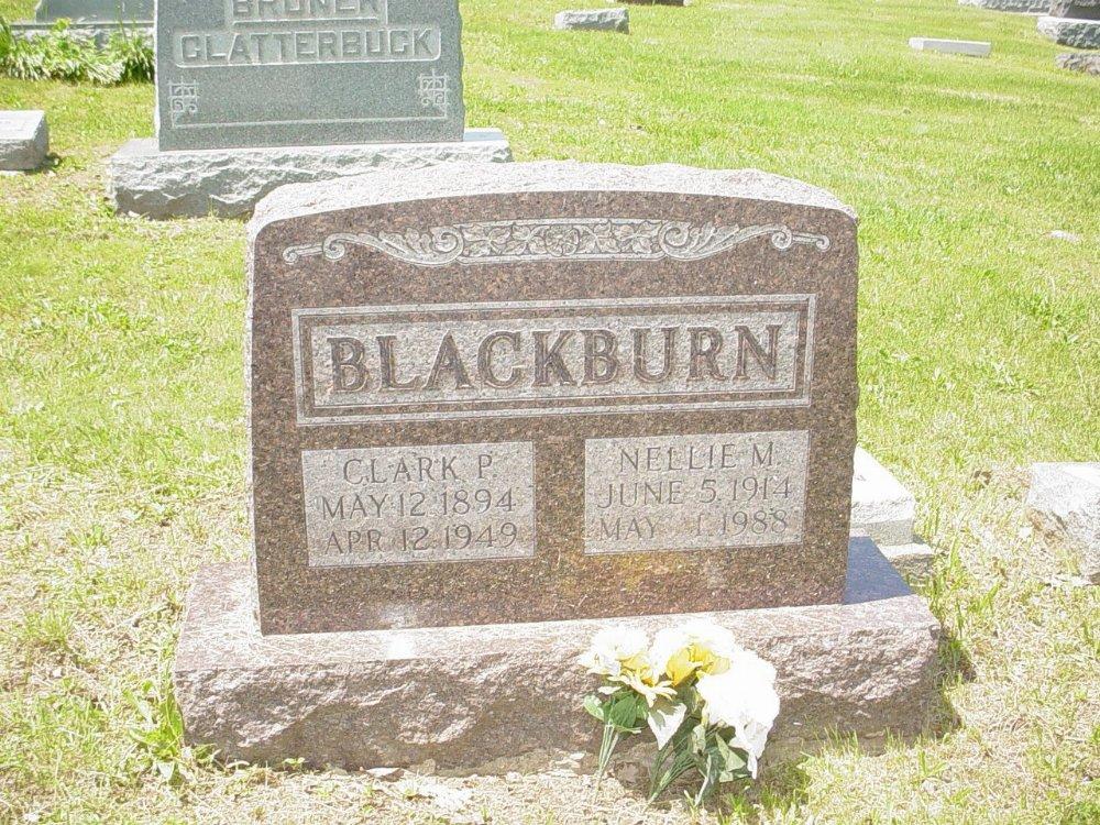 Clark & Nellie Blackburn Headstone Photo, Hillcrest Cemetery, Callaway County genealogy