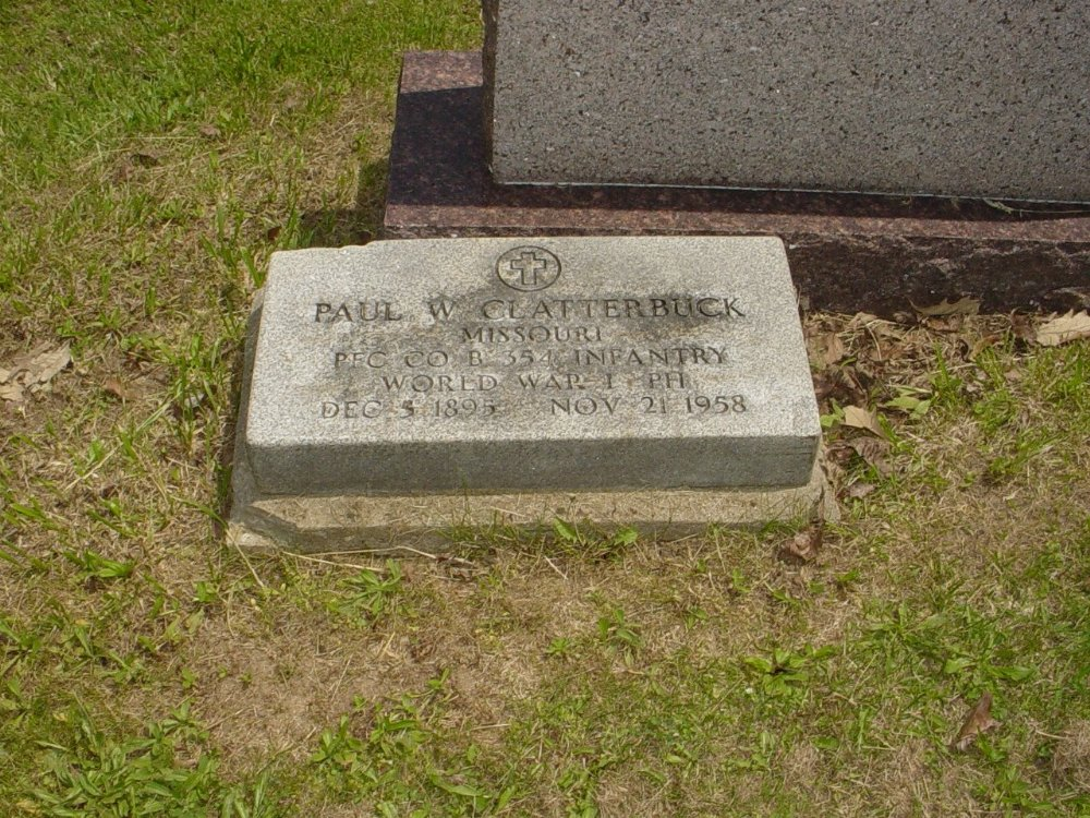 Paul William Clatterbuck Headstone Photo, Hillcrest Cemetery, Callaway County genealogy