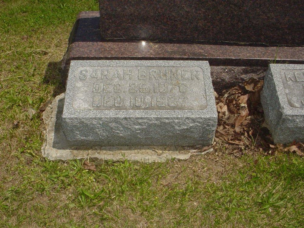Sarah Miller Bruner Headstone Photo, Hillcrest Cemetery, Callaway County genealogy