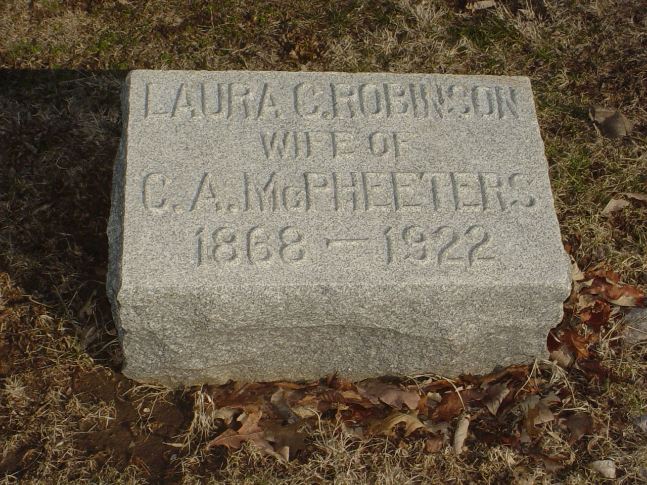 Laura C. Robinson McPheeters Headstone Photo, Hillcrest Cemetery, Callaway County genealogy