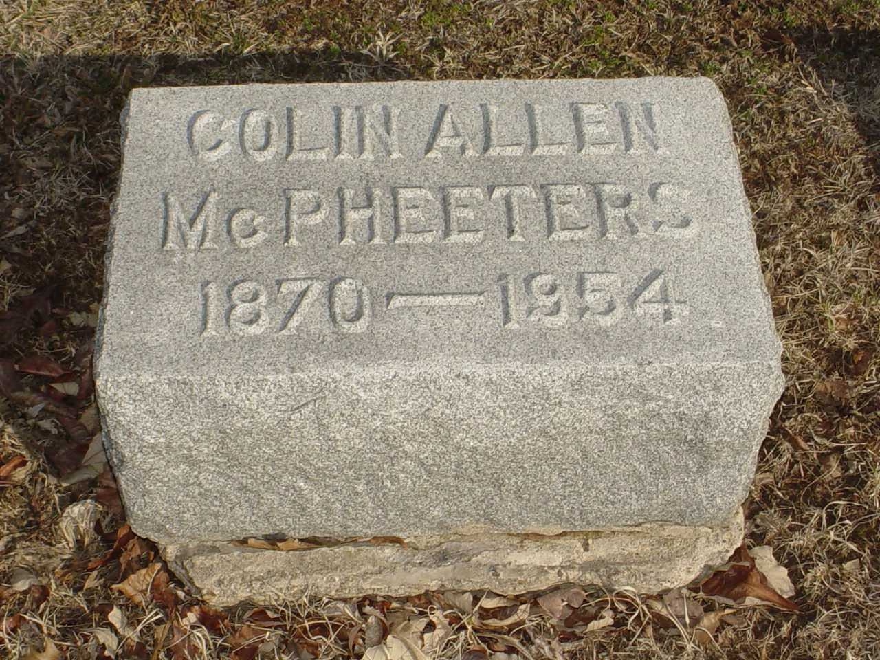 Colin Allen McPheeters Headstone Photo, Hillcrest Cemetery, Callaway County genealogy