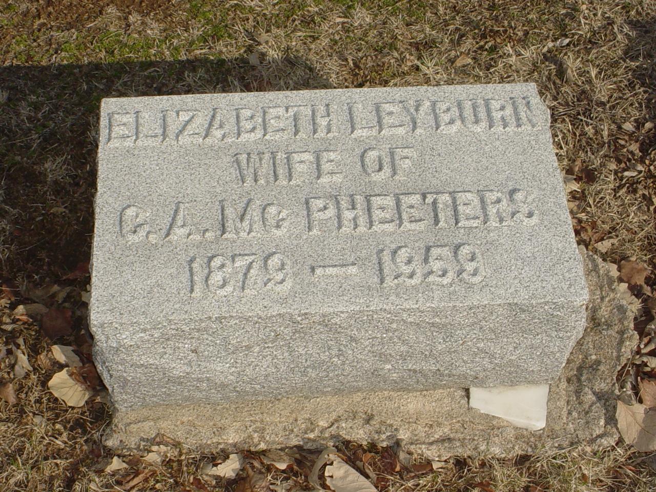 Elizabeth Leyburn McPheeters Headstone Photo, Hillcrest Cemetery, Callaway County genealogy