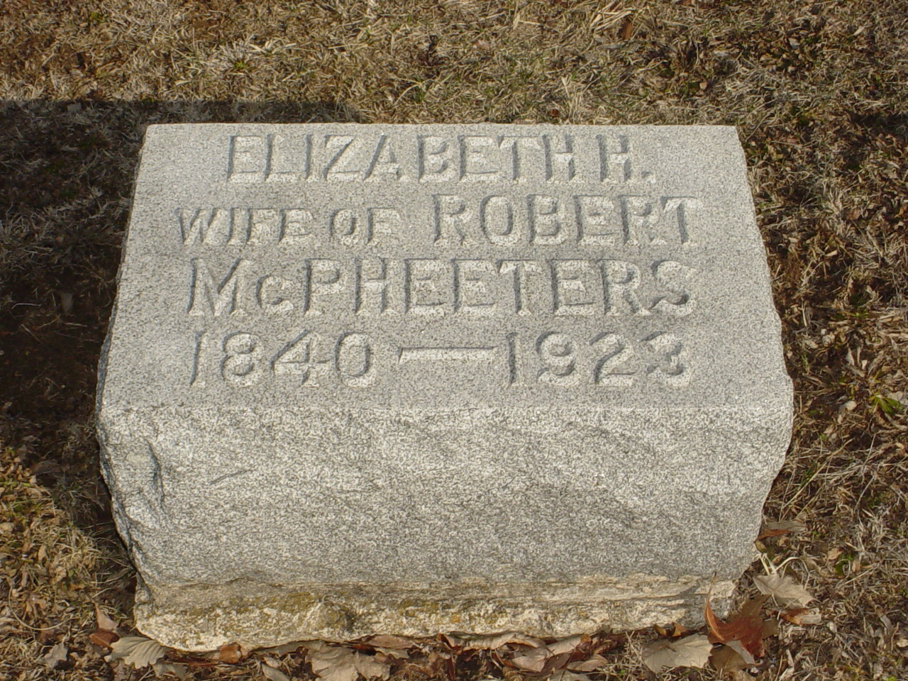 Elizabeth H. McPheeters Headstone Photo, Hillcrest Cemetery, Callaway County genealogy