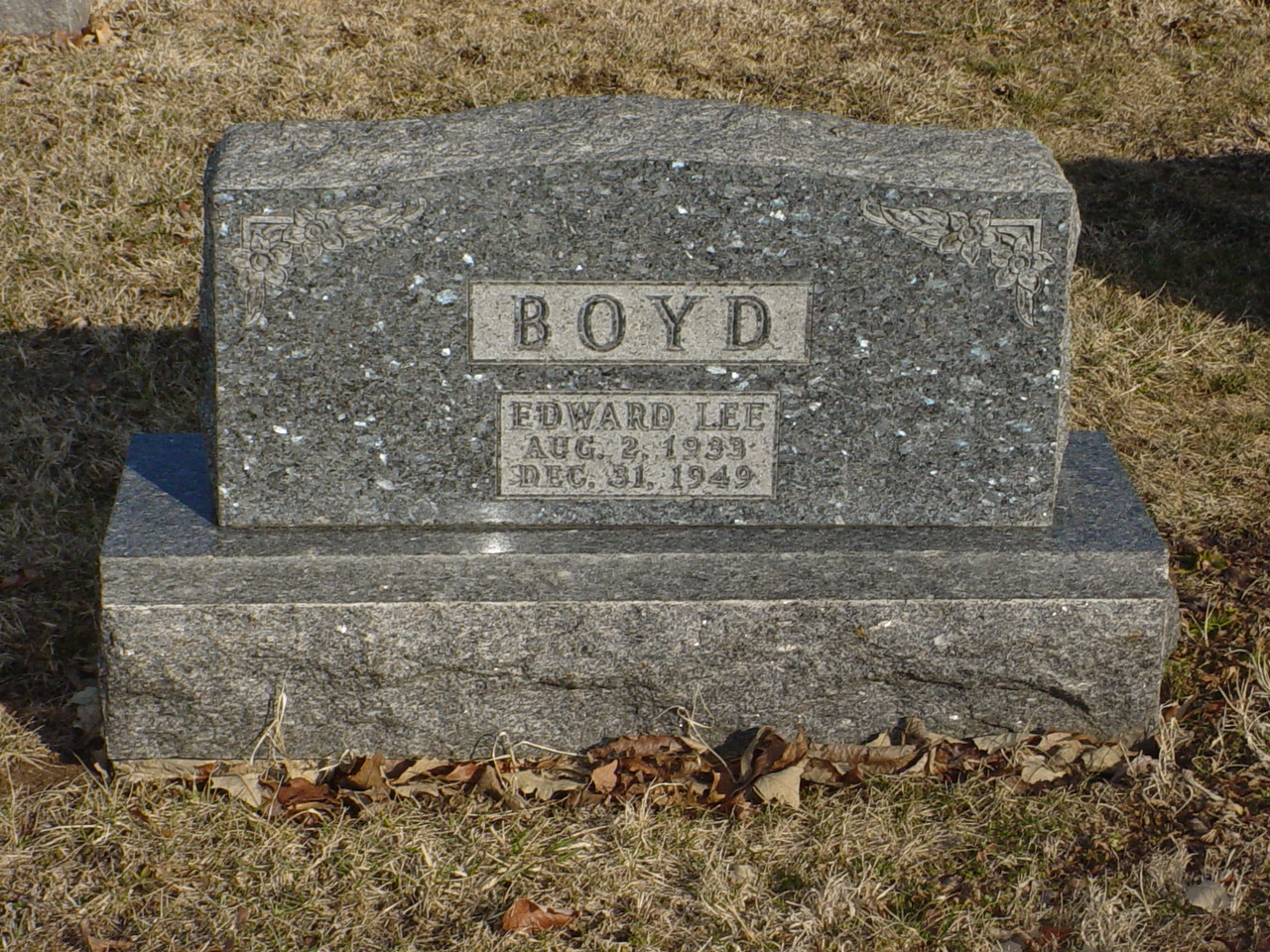 Edward Lee Boyd Headstone Photo, Hillcrest Cemetery, Callaway County genealogy