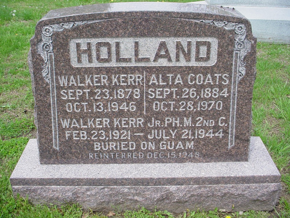 Walker K. Holland & Alta Coats Headstone Photo, Hillcrest Cemetery, Callaway County genealogy