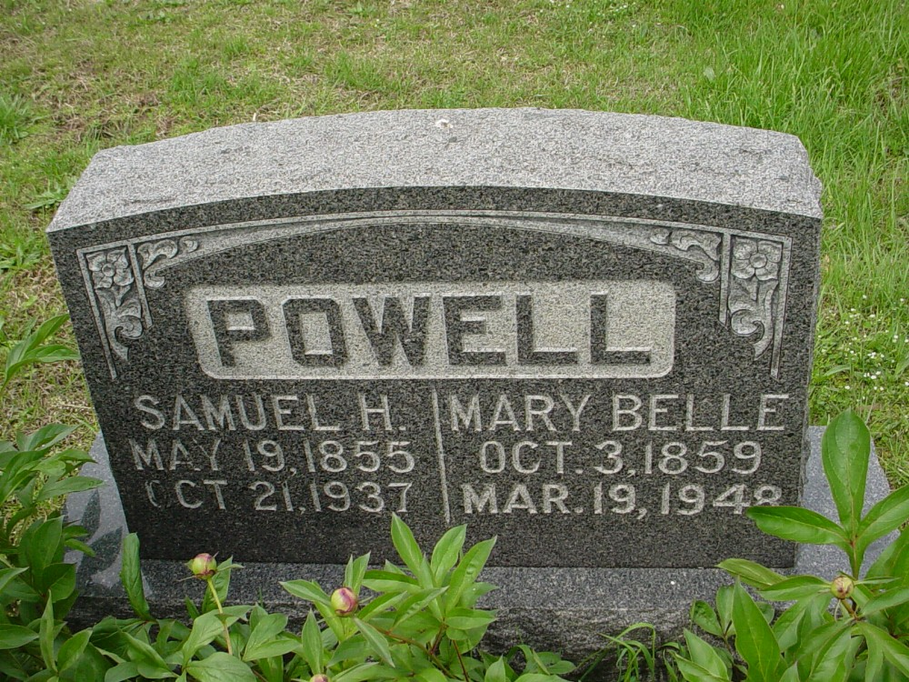 Samuel H. Powell & Mary I. Nichols Headstone Photo, Hillcrest Cemetery, Callaway County genealogy