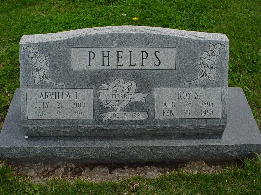 Roy S. and Arvilla L. Phelps Headstone Photo, Hillcrest Cemetery, Callaway County genealogy