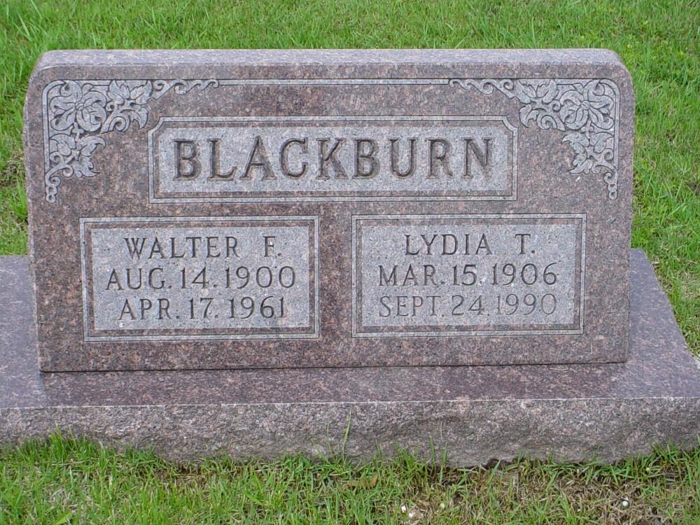 Walter F. Blackburn & Lydia T. West Headstone Photo, Hillcrest Cemetery, Callaway County genealogy