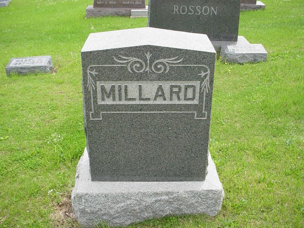 Millard family Headstone Photo, Hillcrest Cemetery, Callaway County genealogy