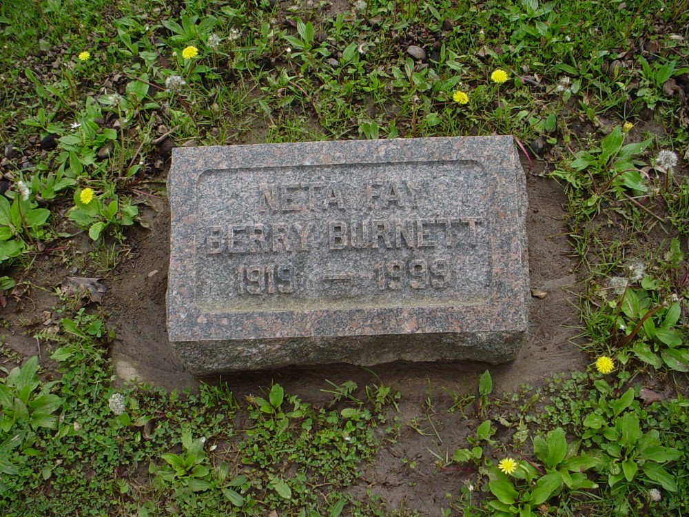Neta Fay Berry Burnett Headstone Photo, Hillcrest Cemetery, Callaway County genealogy