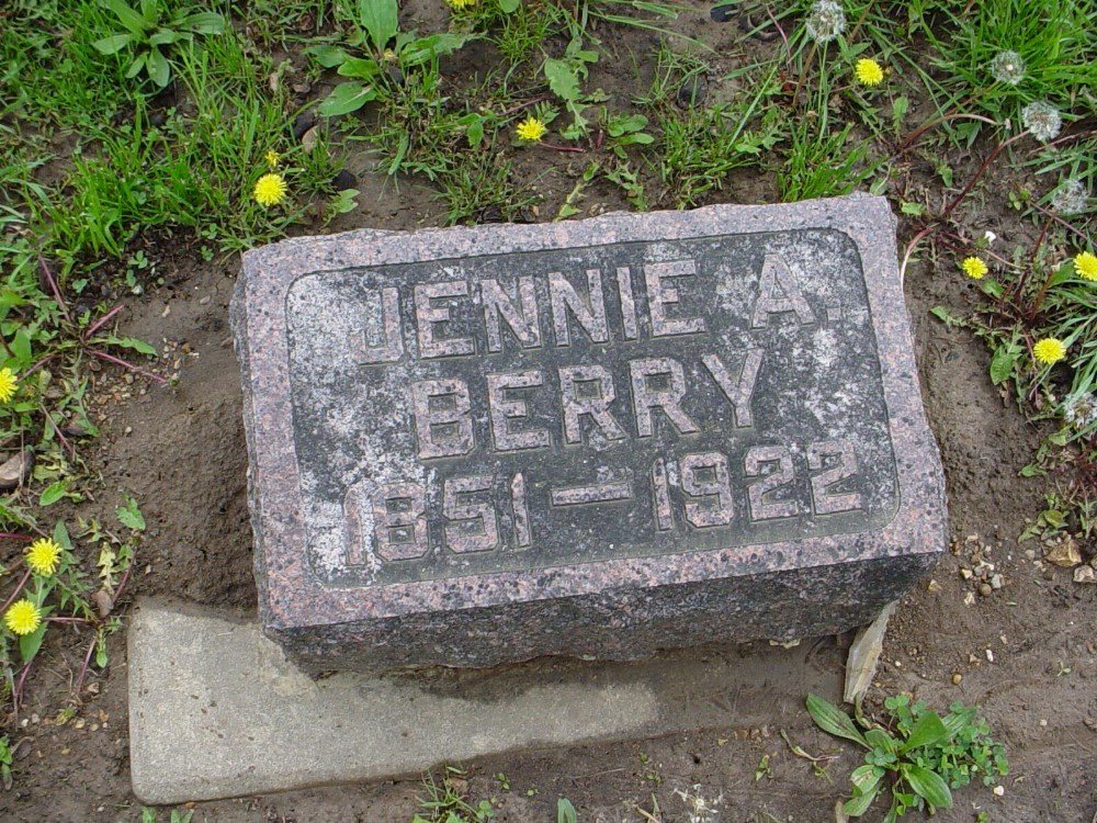 Jennie A. Edwards Berry Headstone Photo, Hillcrest Cemetery, Callaway County genealogy