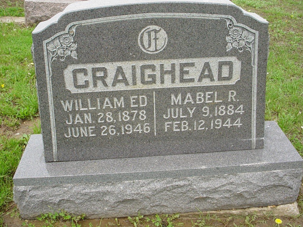 William E. Craighead & Maybelle F. Roberts Headstone Photo, Hillcrest Cemetery, Callaway County genealogy