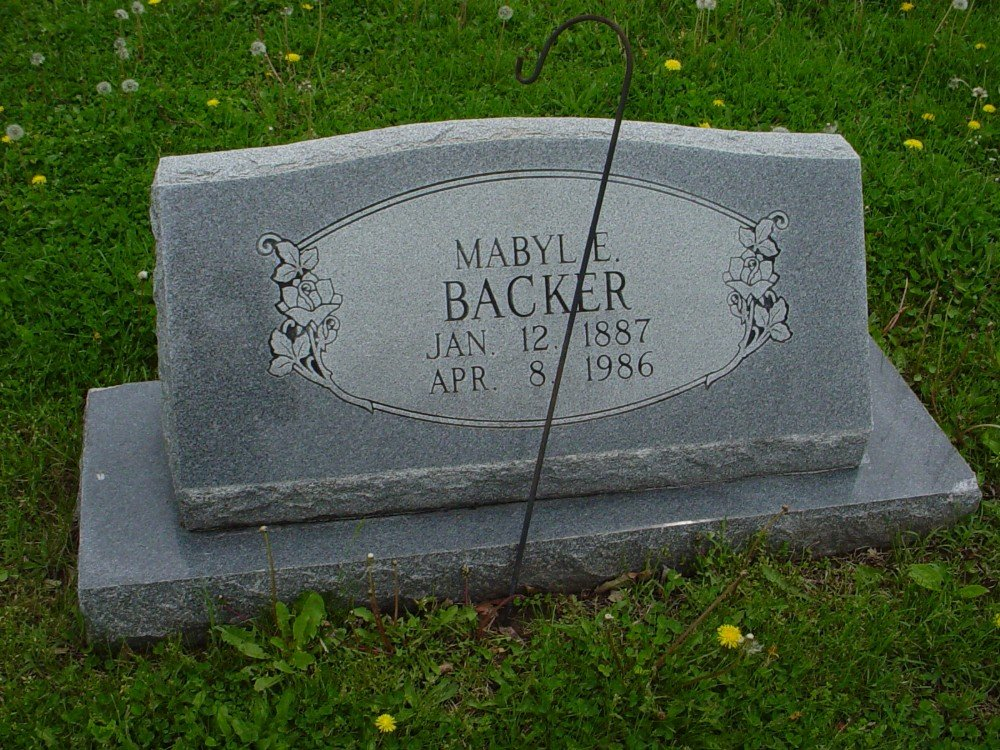 Mabyle E. Backer Headstone Photo, Hillcrest Cemetery, Callaway County genealogy