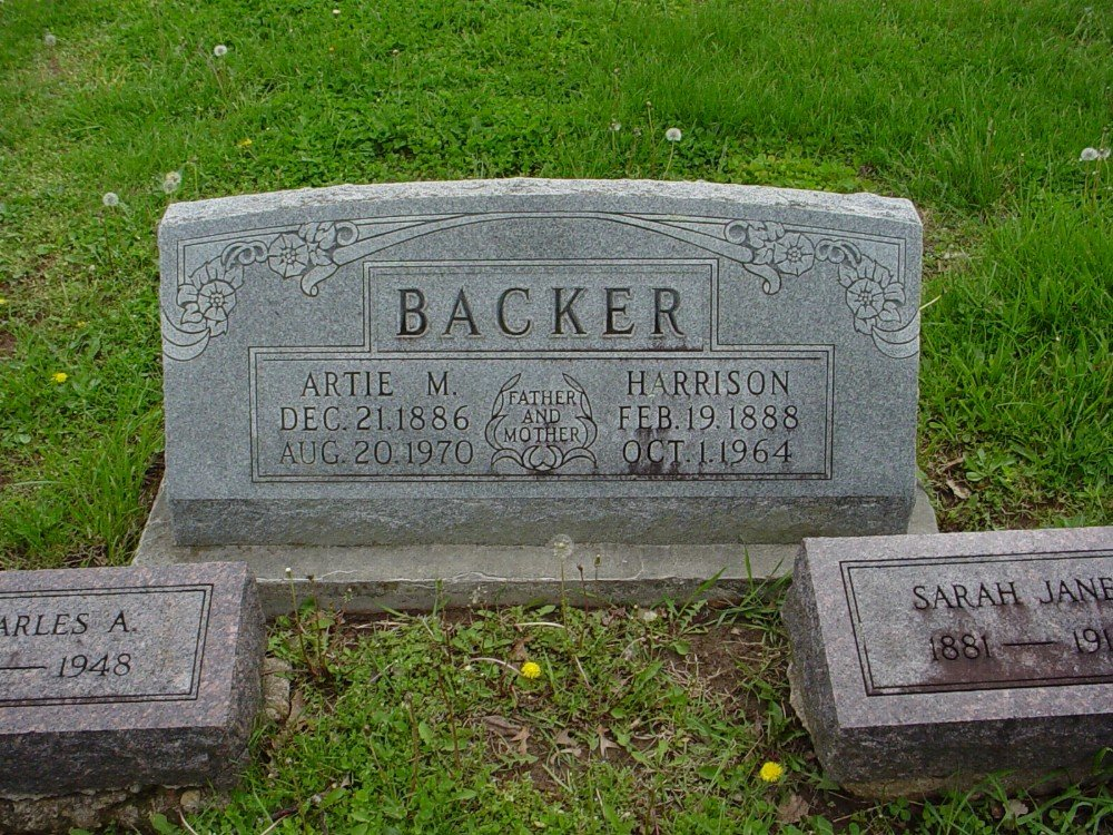 Thomas Harrison Backer & Artie M. Pugh Headstone Photo, Hillcrest Cemetery, Callaway County genealogy
