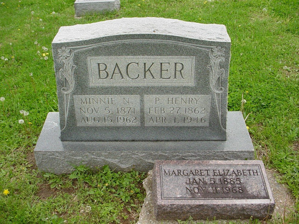 Philip H. Backer & Minnie N. Hamilton Headstone Photo, Hillcrest Cemetery, Callaway County genealogy