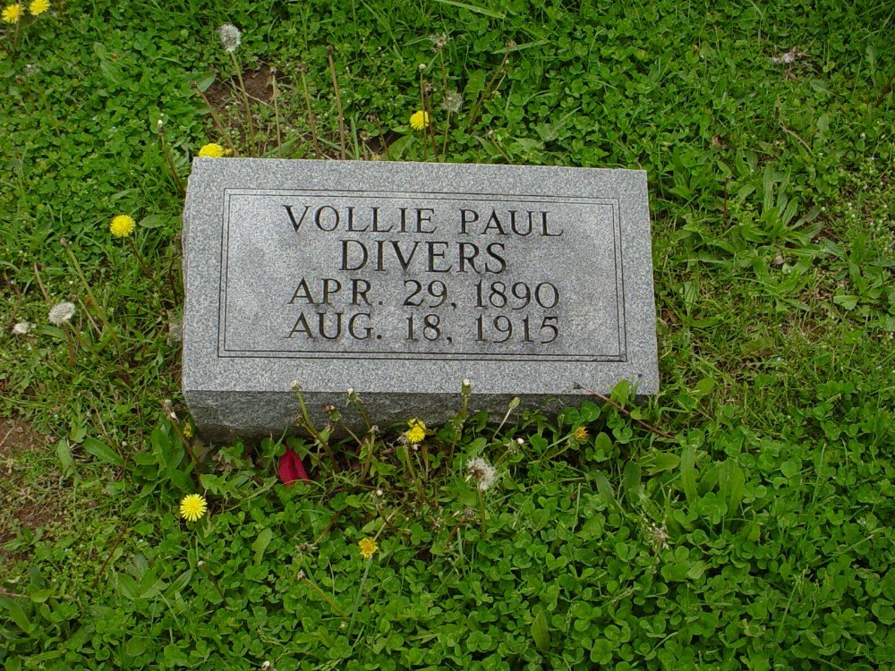 Vollie Paul Divers Headstone Photo, Hillcrest Cemetery, Callaway County genealogy