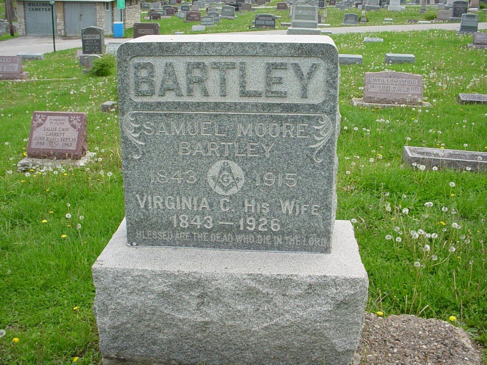 Samuel M. Bartley and Virginia C. Berry Headstone Photo, Hillcrest Cemetery, Callaway County genealogy