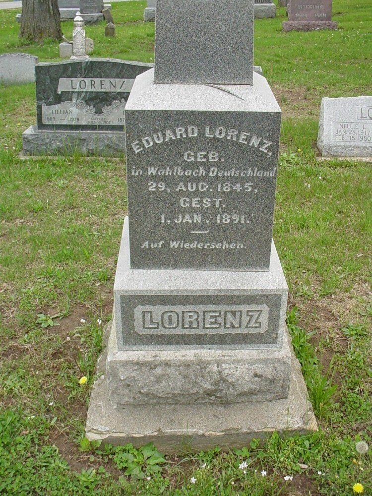 Eduard Lorenz Headstone Photo, Hillcrest Cemetery, Callaway County genealogy