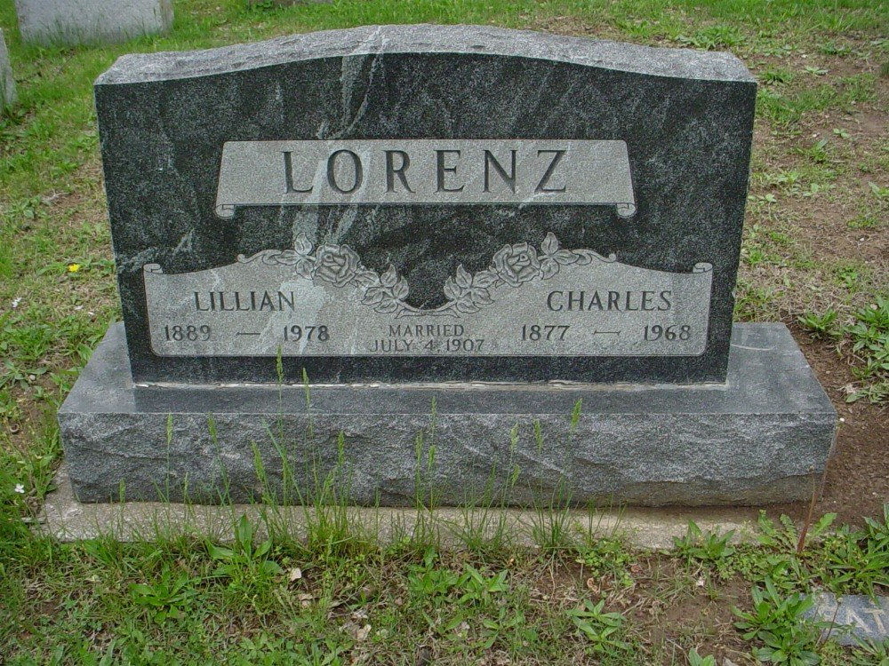 Charles & Lilian Lorenz Headstone Photo, Hillcrest Cemetery, Callaway County genealogy