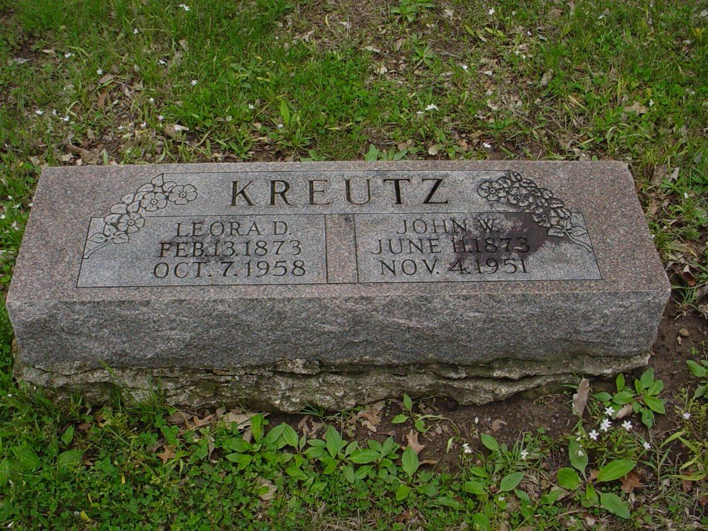 John W. Kreutz & Leora Douglass Headstone Photo, Hillcrest Cemetery, Callaway County genealogy