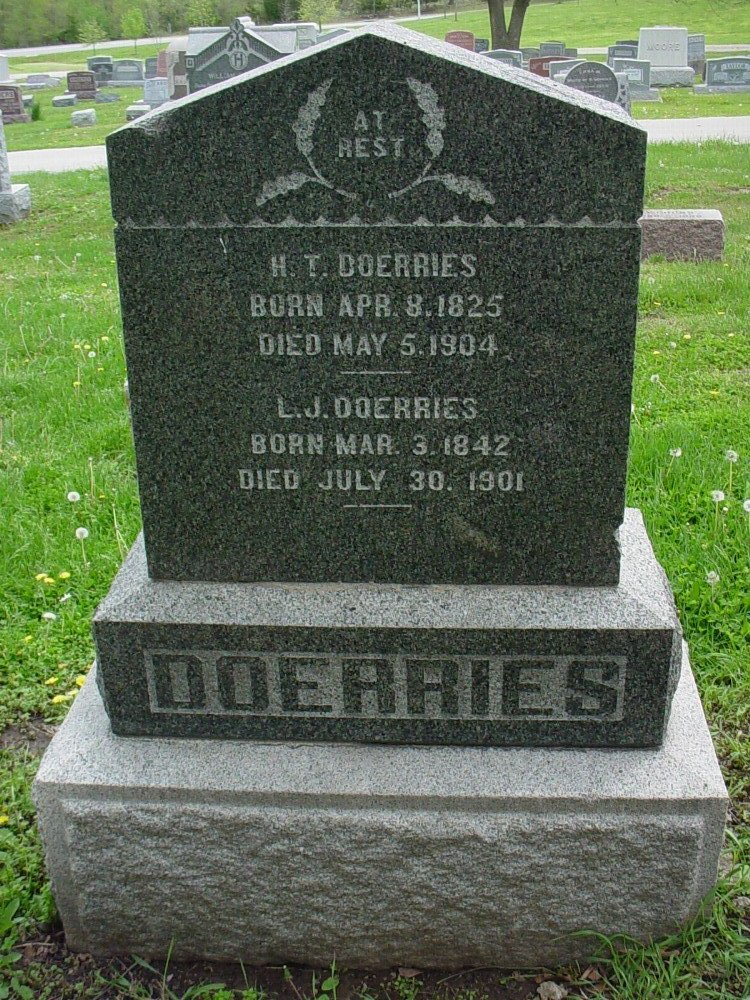 Herman T. Doerries & Lucy Jane Davis Headstone Photo, Hillcrest Cemetery, Callaway County genealogy