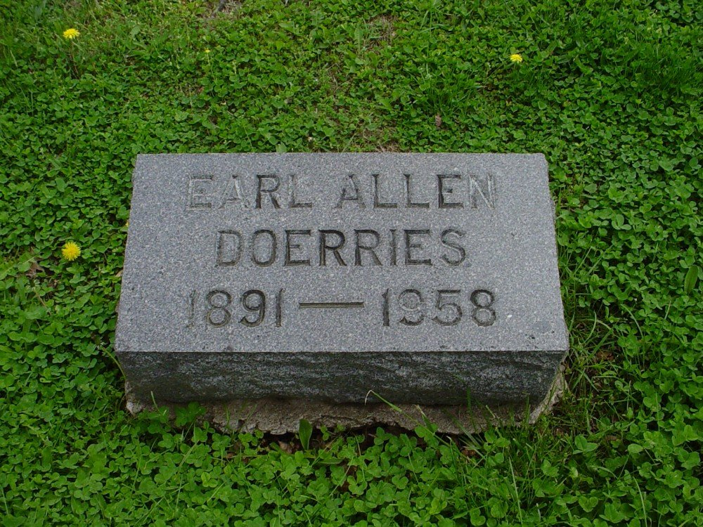 Earl Allen Doerries Headstone Photo, Hillcrest Cemetery, Callaway County genealogy