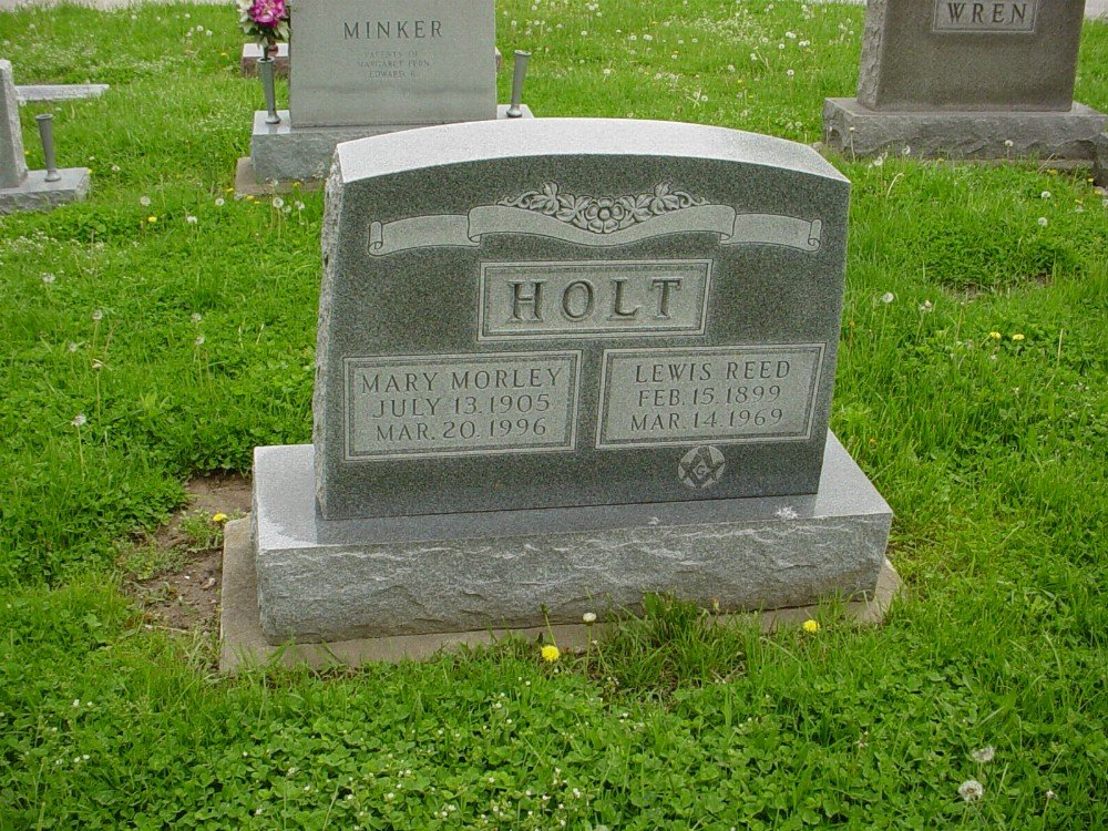 Lewis R. Holt & Mary M. Nichols Headstone Photo, Hillcrest Cemetery, Callaway County genealogy