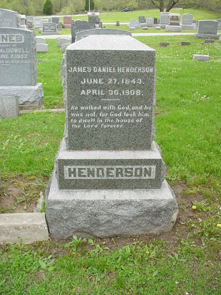 James Daniel Henderson Headstone Photo, Hillcrest Cemetery, Callaway County genealogy