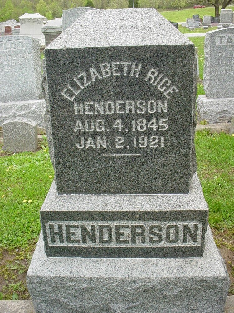 Elizabeth Rice Henderson Headstone Photo, Hillcrest Cemetery, Callaway County genealogy