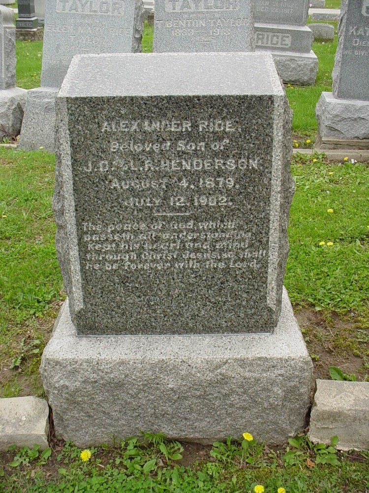 Alexander Rice Henderson Headstone Photo, Hillcrest Cemetery, Callaway County genealogy