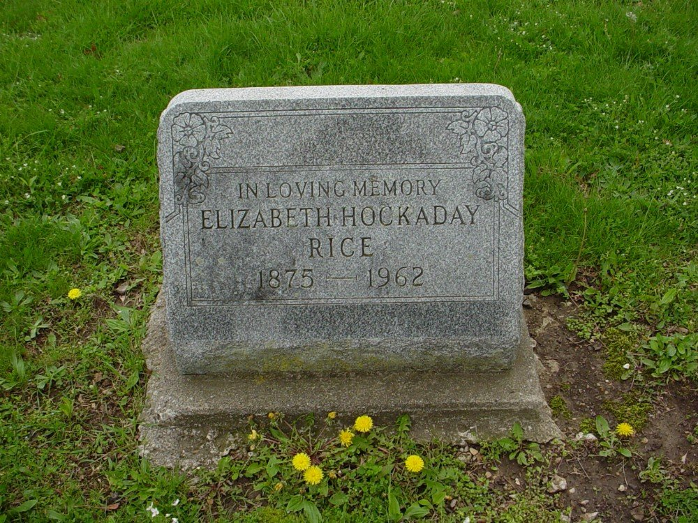 Elizabeth Hockaday Rice Headstone Photo, Hillcrest Cemetery, Callaway County genealogy