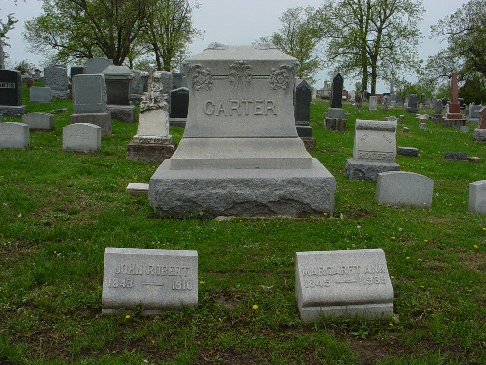 John R. Carter & Margaret Ann Fletcher Headstone Photo, Hillcrest Cemetery, Callaway County genealogy