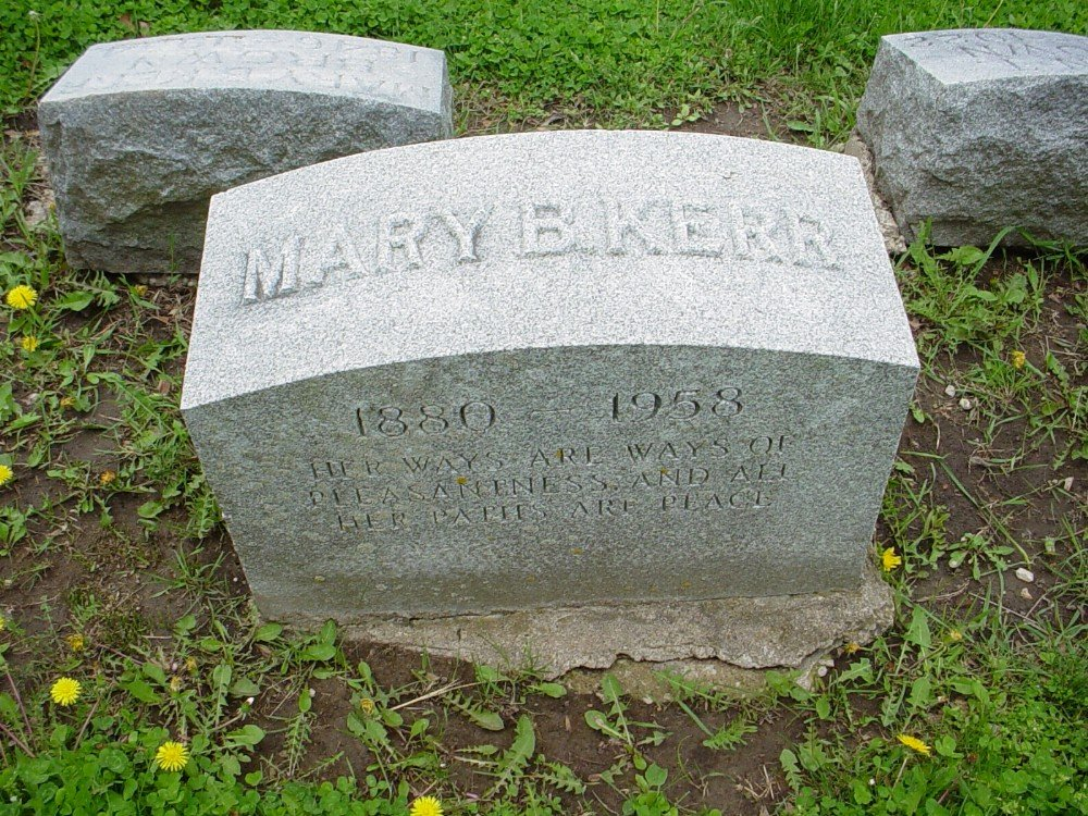 Mary B. Kerr Headstone Photo, Hillcrest Cemetery, Callaway County genealogy