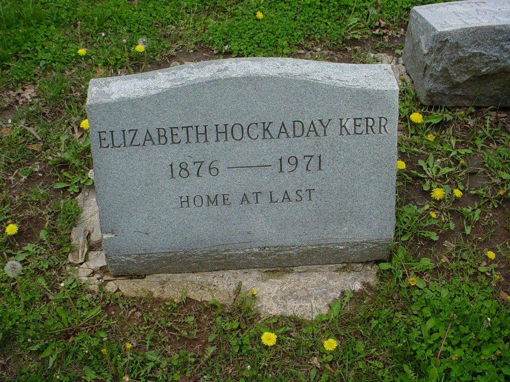 Elizabeth Hockaday Kerr Headstone Photo, Hillcrest Cemetery, Callaway County genealogy