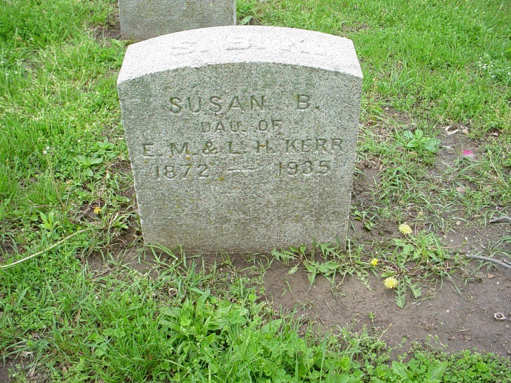 Susan B. Kerr Headstone Photo, Hillcrest Cemetery, Callaway County genealogy