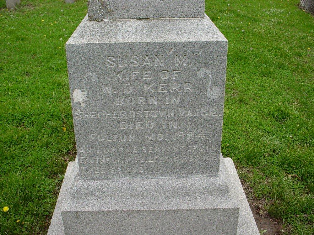 Susan M. Kerr Headstone Photo, Hillcrest Cemetery, Callaway County genealogy
