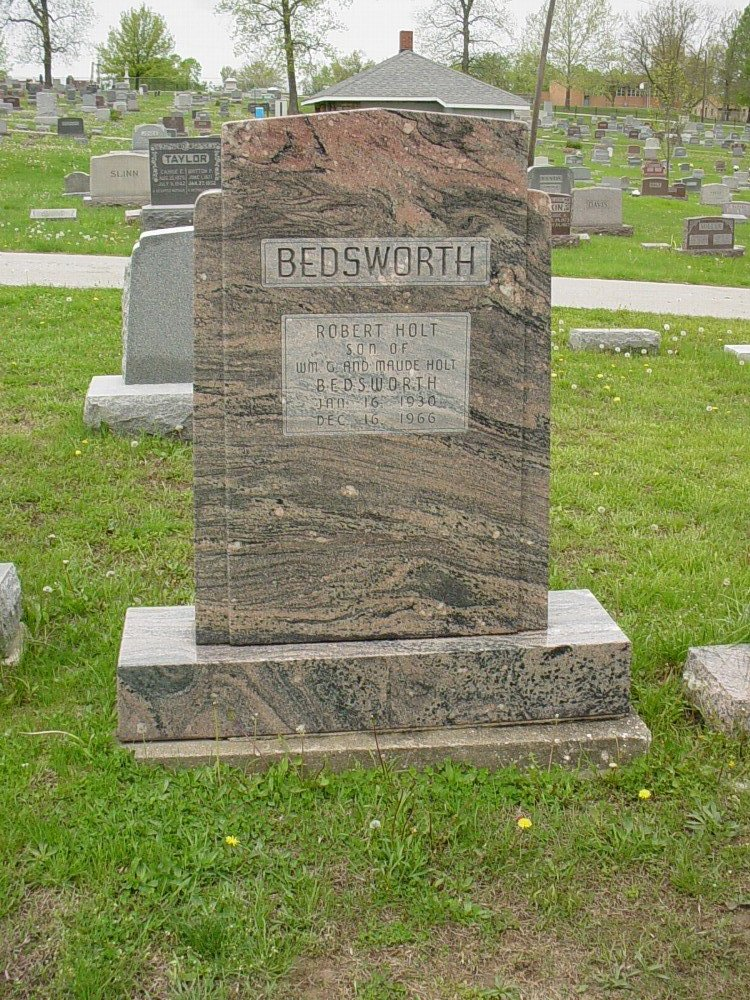 Robert Holt Bedsworth Headstone Photo, Hillcrest Cemetery, Callaway County genealogy