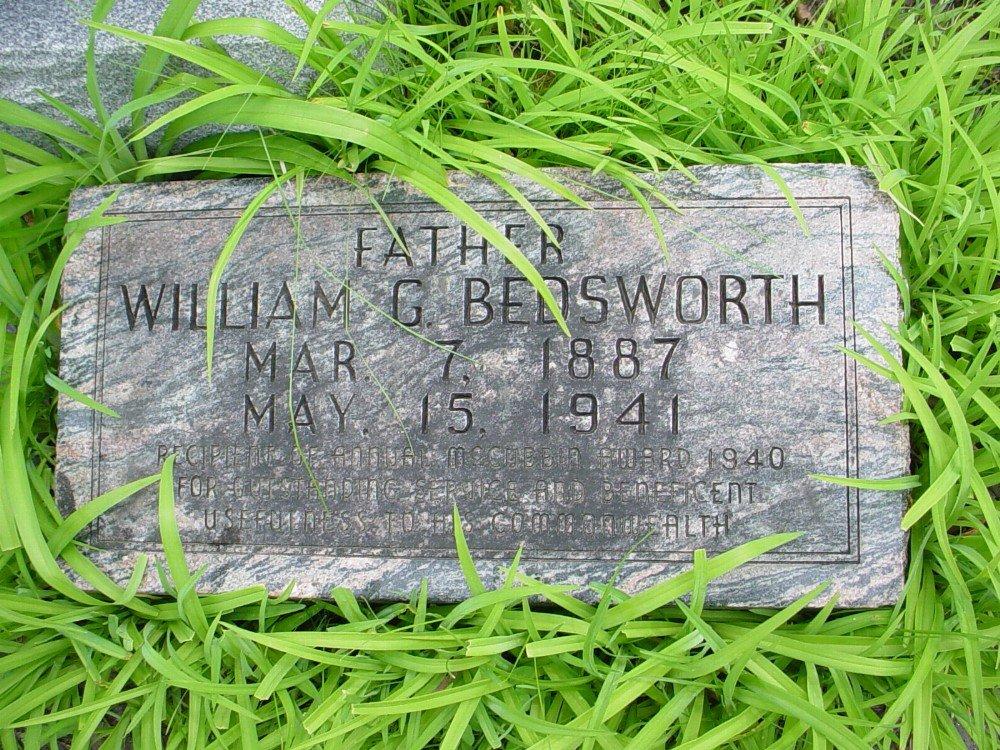 William G. Gladstone Bedsworth Headstone Photo, Hillcrest Cemetery, Callaway County genealogy