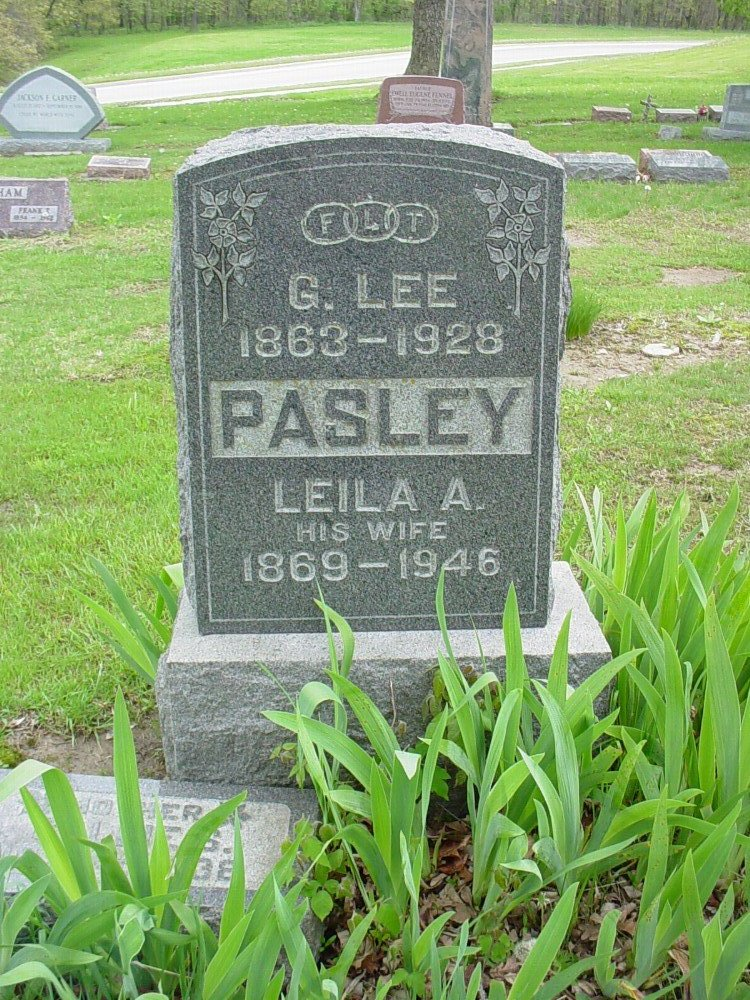 G. Lee Pasley & Leila English Headstone Photo, Hillcrest Cemetery, Callaway County genealogy