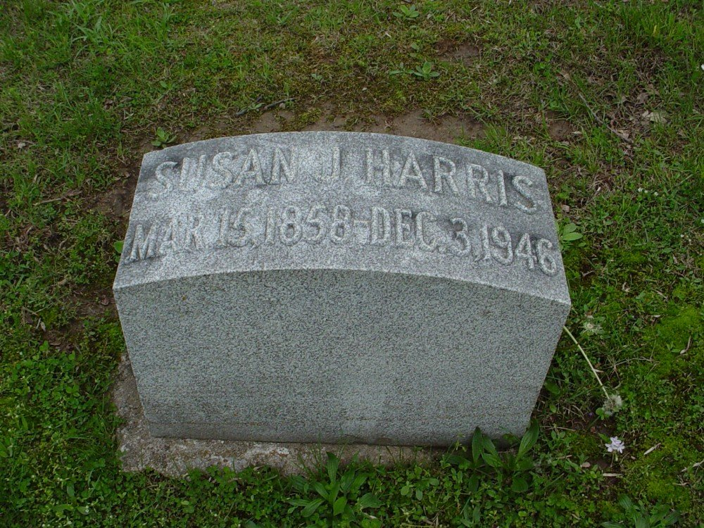Susan John Harris Headstone Photo, Hillcrest Cemetery, Callaway County genealogy