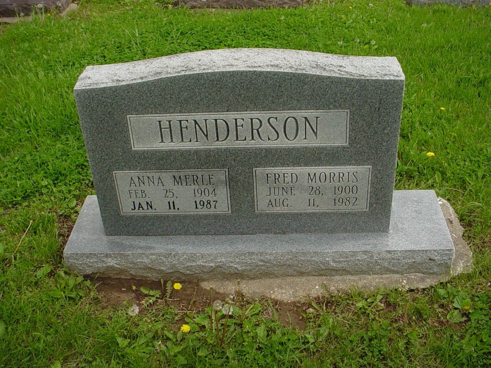 Fred M. & Anna M. Henderson Headstone Photo, Hillcrest Cemetery, Callaway County genealogy