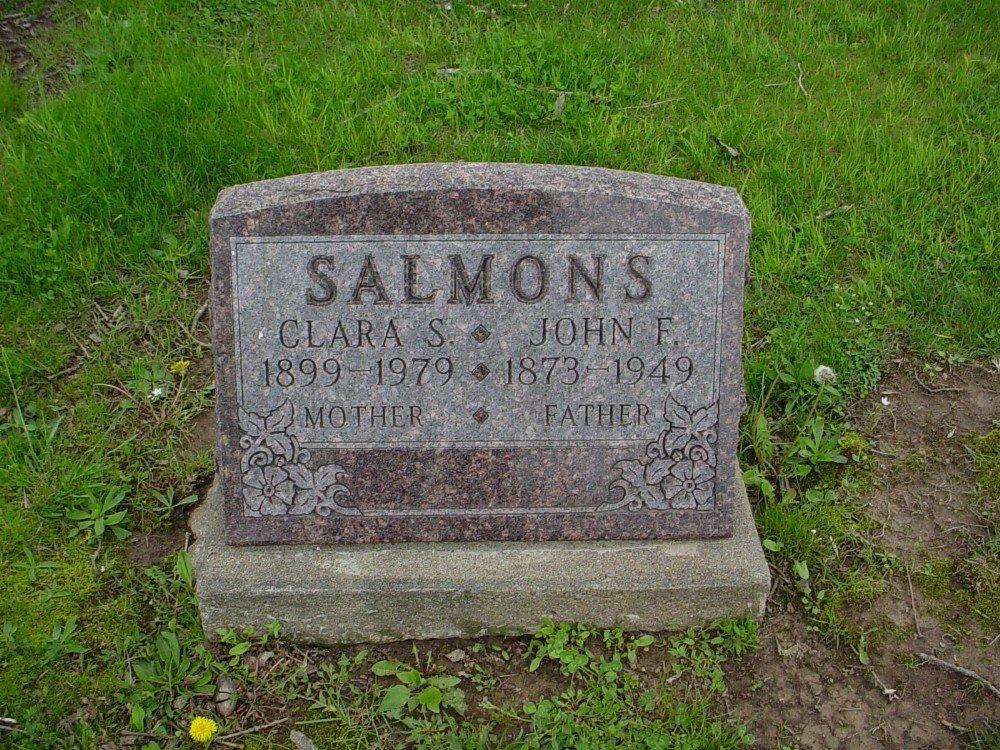 John F. Salmons & Clara Shryock Headstone Photo, Hillcrest Cemetery, Callaway County genealogy