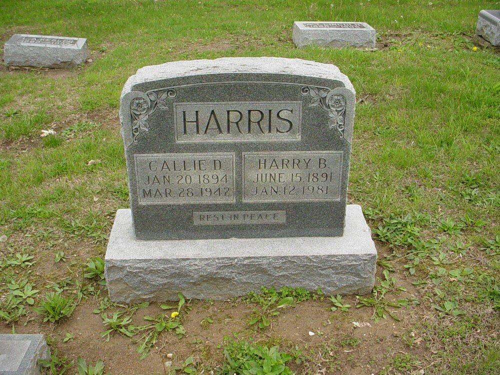 Harry B. Harris & Callie D. Howard Headstone Photo, Hillcrest Cemetery, Callaway County genealogy